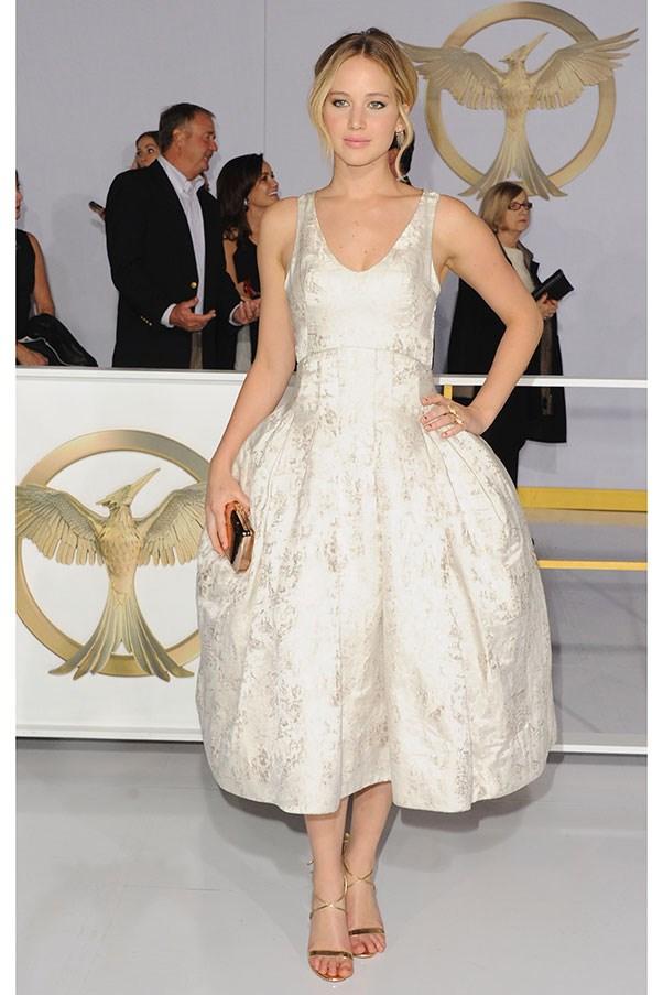 <strong>CHRISTIAN DIOR</strong><BR><BR> Jennifer Lawrence at the <em>Hunger Games: Mockingjay Part 1</em> premiere