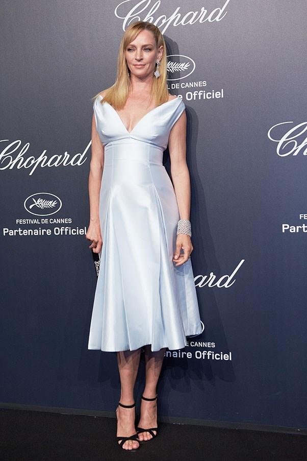 <strong>PRADA/MIU MIU</strong><BR><BR> Uma Thurman at Cannes