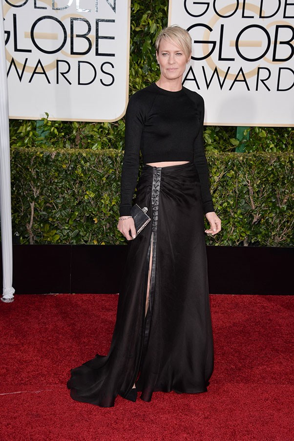 <strong>RALPH LAUREN</strong><BR><BR> Robin Wright at the Golden Globes
