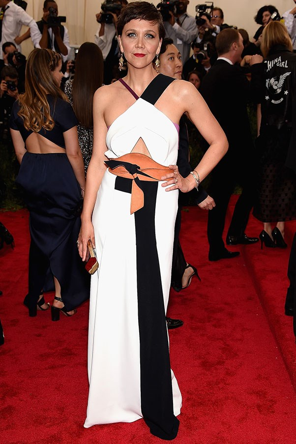 <strong>ROLAND MOURET</strong><BR><BR> Maggie Gyllenhaal at the Met Gala