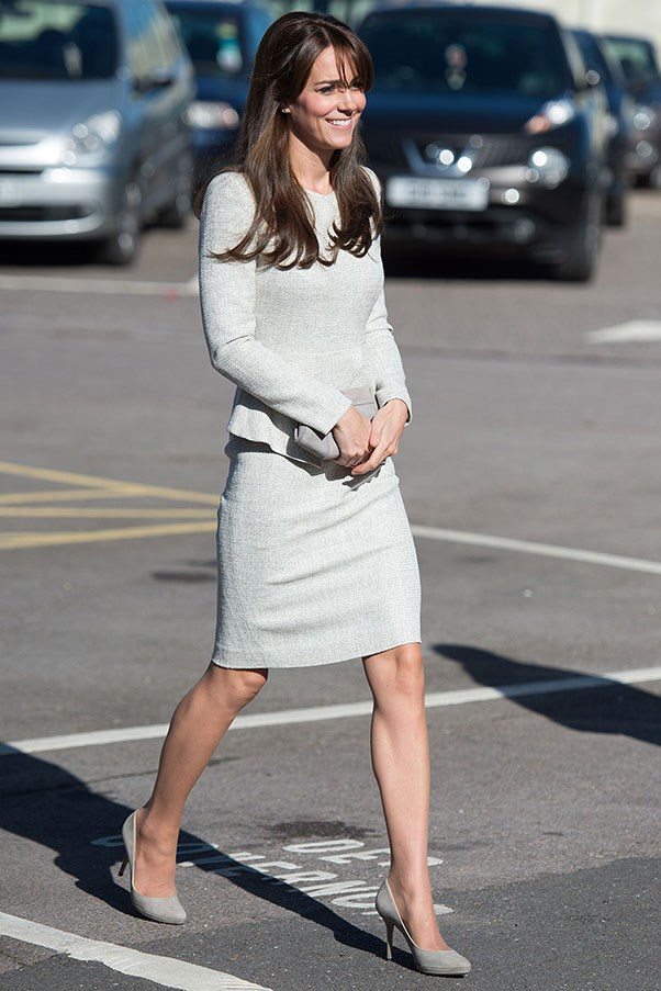"The Duchess opted for a grey dress by British label <a href=""https://thefoldlondon.com"">The Fold</a> and matching pump to visit a women's rehabilitation prison in Surrey."