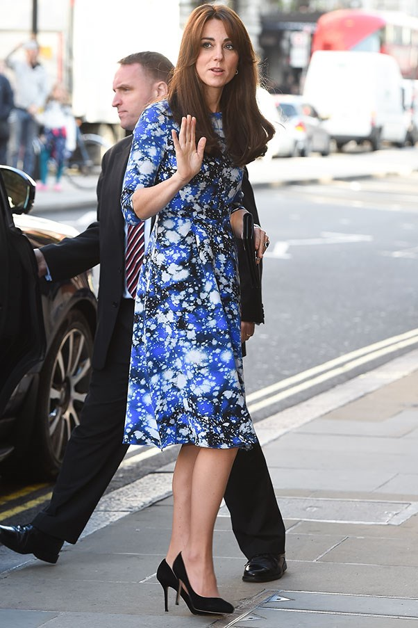 The Duchess wore a Tabitha Webb dress to a film premiere in London on October 26.