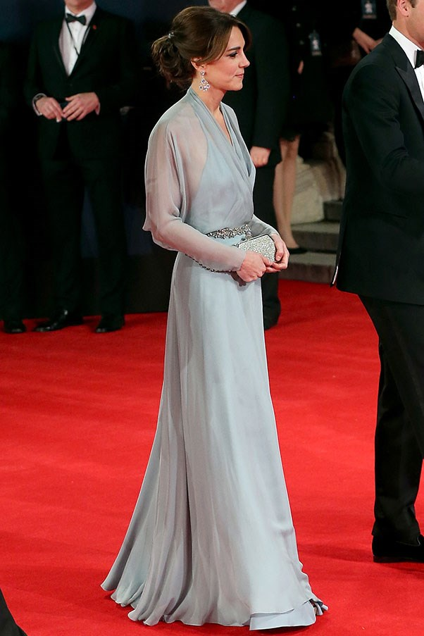 The Duchess' favourite designer Jenny Peckham designed the gown Kate wore to the royal premiere of <em>Spectre</em>, the latest James Bond film.