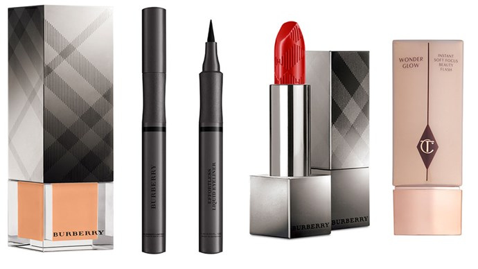 """""""My must have beauty products are the Fresh Glow foundation, Effortless Liquid Eyeliner in Jetblack, Kisses lipstick in Military Red- all by Burberry- and Charlotte Tilbury Wonderglow."""" <br><br>Burberry Fresh Glow foundation, $75, at <a href=""""http://shop.davidjones.com.au/djs/en/davidjones/Fresh-Glow-Fluid-Foundation-90439"""">David Jones</a>, Effortless Liquid Eyeliner in Jetblack, $39, at <a href=""""https://www.net-a-porter.com/au/en/product/531458/Burberry_Beauty/effortless-liquid-eyeliner-jet-black-no-01"""">Net A Porter</a> and Kisses Lipstick in Military Red, $35, at <a href=""""https://www.net-a-porter.com/au/en/product/655464/Burberry_Beauty/burberry-kisses-military-red-no-109"""">Net A Porter</a>, Charlotte Tilbury Wonderglow Primer, $76, at <a href=""""http://shop.nordstrom.com/s/charlotte-tilbury-wonderglow-instant-soft-focus-beauty-flash/3849050"""">Charlotte Tilbury</a>"""