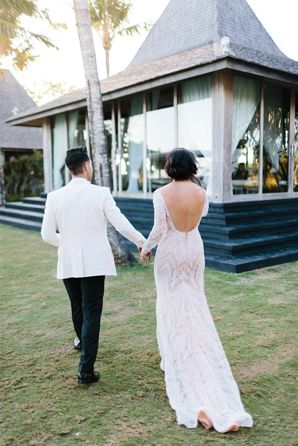 "<strong>What was the significance of each location?</strong> <br><br> We chose Sarong because it is our favourite restaurant in Bali and it is also a gorgeous venue. We had the entire place to ourselves, and had plenty of room for a dance floor after dinner! Our wedding planner (<a href=""http://libbydoherty.com/"">Libby Doherty Events</a>) suggested Khayangan Estate and a few others. As soon as we walked in we knew it was the right venue for us. <br><br> Again we had the entire property to ourselves. We got married on the top lawn, moved down to the mezzanine garden for sunset cocktails and canapés, then sat down for dinner on the bottom lawn where our band and dance floor was. We even had a recovery pool party at the top pool. We certainly made full use of all the different areas of the property!"