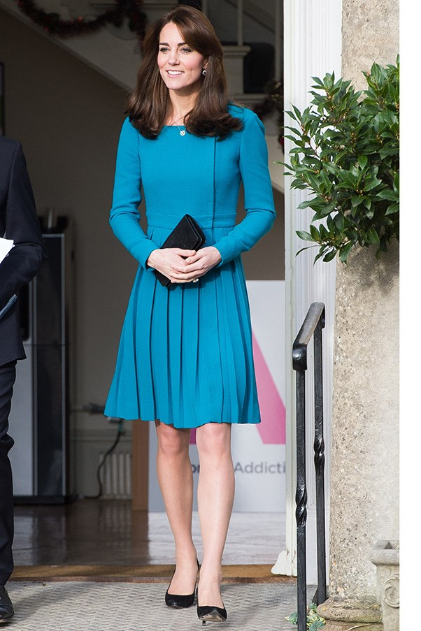 The Duchess' love affair with the coat-dress continues with this Emilia Wickstead pleaated number, worn at a 'Action to Addiction' event in London.
