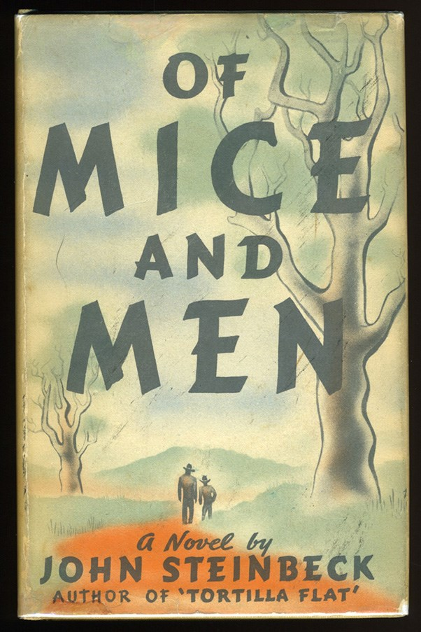 <strong>Of Mice and Men by John Steinbeck</strong><br><br> George - a small, intelligent guy who wants to make it in the world - and Lennie, who is physically huge but mentally slow, begin working at a ranch during the Great Depression. The ranch owners bully son, Curley, takes a dislike to Lennie, which ultimately leads to a tragic chain of events.
