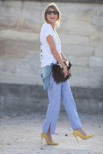 Try a loose fitting trouser with a simple tee and statement heel.