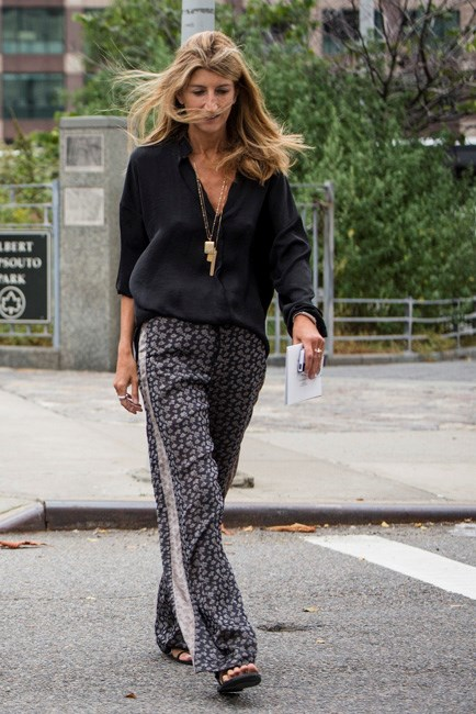 Loose-fitting palazzo pants are surprisingly comfy when the weather heats up.