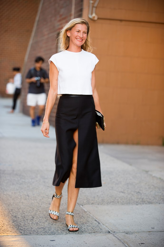 A graphic sandal ties this super-simple (but chic) ensemble together. Ten points.