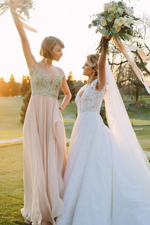 <strong>Taylor Swift</strong><br><br> The songstress was maid of honour for her childhood best friend Brit Maack in February of this year, donning a notably un- meringue Reem Acra gown.