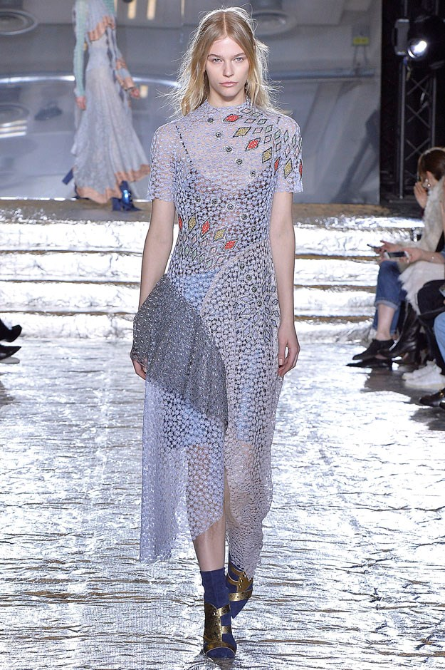 <strong>Peter Pilotto</strong> <br><br> And fans who have tracked Pilotto and de Vos since their first seasons and fell for their cheerful prints, this was a return to that and an evolution. Lace and crushed velvet dresses were sewn together with jeweled details, embroidery and beading and appliqués in a fun winter whirl.