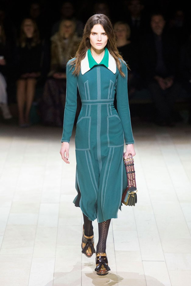 <strong>Burberry</strong> <br><br> How this shakes out in the next few months (and even years) will be interesting and industry-changing for sure, but in the meantime, everything on the Burberry runway is for sale—now. Which is good news for the girl who needs her snake-skin dusters, military coats and snug knit dresses for the final few weeks of winter.