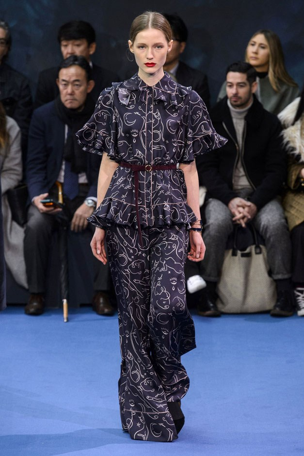 <strong>Roksanda</strong> <br><br> A Picasso motif crept back in via a great pyjama-for-evening look and loose dress printed with eyes, profiles and animals, the simple pattern recalling the Cubist artist's famous spare animal line drawings.