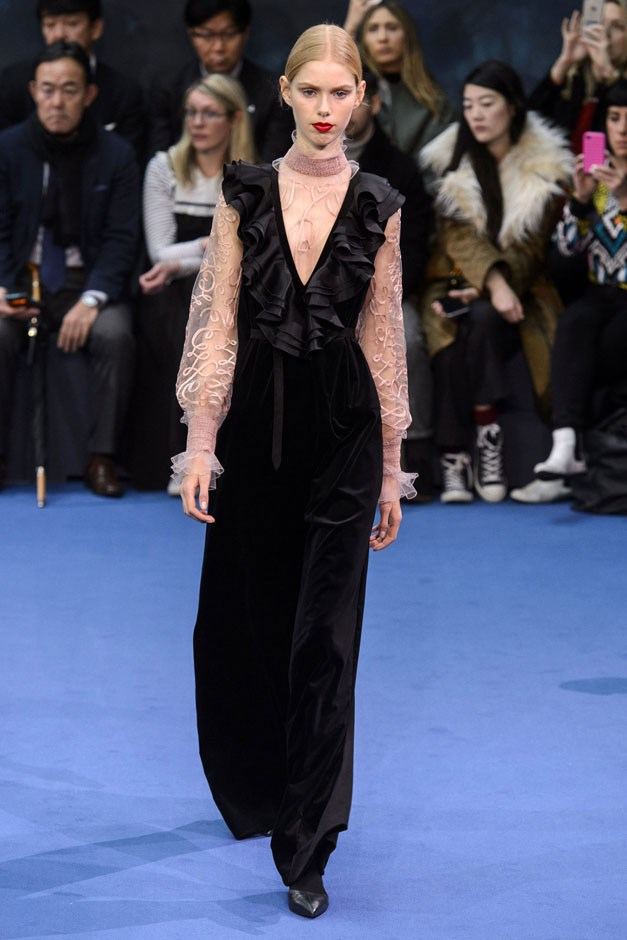 <strong>Roksanda</strong> <br><br> But for evening, Ilincic let full loose her feminine wiles with ruffles and plisse. Gowns swept, gathered and moved in shades of hot pink and purple, while her version of the tux came with a flamenco-ruffled bodice and a delicate pink blouse.