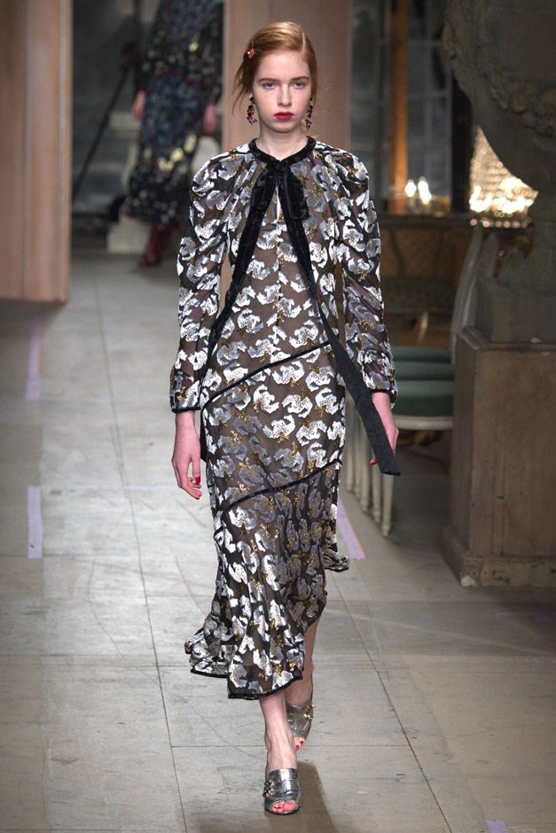 """<strong>Erdem</strong> <br><br> Erdem Moralioglu loves femininity with flourish—which would make him an interesting successor to Alber Elbaz at Lanvin, if the rumors are true. Where Erdem's signature is print-on-pattern, the designer also loves historical references. Remember Willa Cather's """"O Pioneers"""" reference last spring? But if bringing some Downton drama to your everyday wardrobe is what makes you happy, then this runway will fill your wardrobe with fil coupé dreams."""