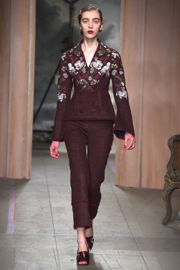 <strong>Erdem</strong> <br><br> The fall lineup was richly embroidered, detailed and wrought and cut in silhouettes that flitted across multiple early 20th Century decades. Only the wonderful loafers and open-toed mules—themselves a nod to '70s luxury—felt up to speed with a thoroughly modern Milly.