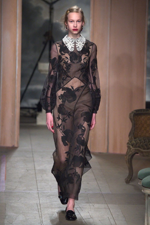 <strong>Erdem</strong> <br><br> While much of the collection had a prim and proper prairie feel with longer hems, sleeves and higher necklines, some suggestively sheer lace and fil coupé gowns walked, their schoolgirl collars not fooling anyone but rather suggesting a whole lot. And in one of the neatest styling pairings, all of Moralioglu's evening looks were paired with flat loafers.
