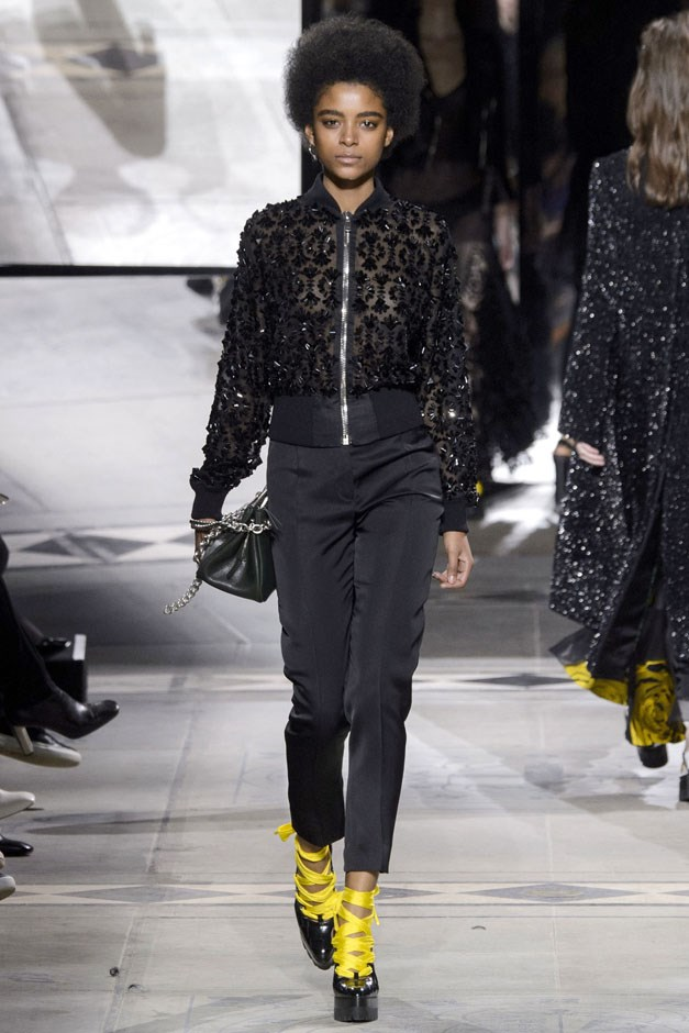 <strong>Mulberry</strong> <br><br> For evening, there was merit to the idea of transferring that luxury sporty motif to evening with jewelled and beaded bombers and slick cropped black tuxedo pants. But the flippy, flirty printed party minis with the plunging necklines felt like a different brand. And that's the main thing Coca—and any designer taking over an established brand—will have to think about going forward. What is the voice and vision of his brand? And how do you push that forward into the new and now?