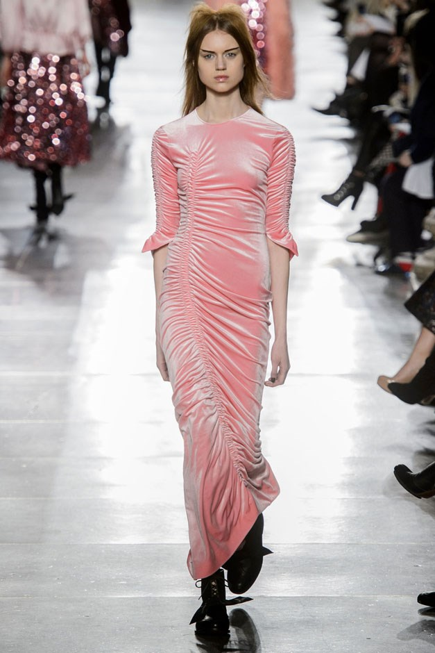 <strong>Preen by Thornton Bregazzi</strong> <br><br> The best part of the show was an unabashed love of pink and sparkles. But there was nothing precious in the way they handled a sinuously skin-tight sherbet velvet dress, ruched along the side.