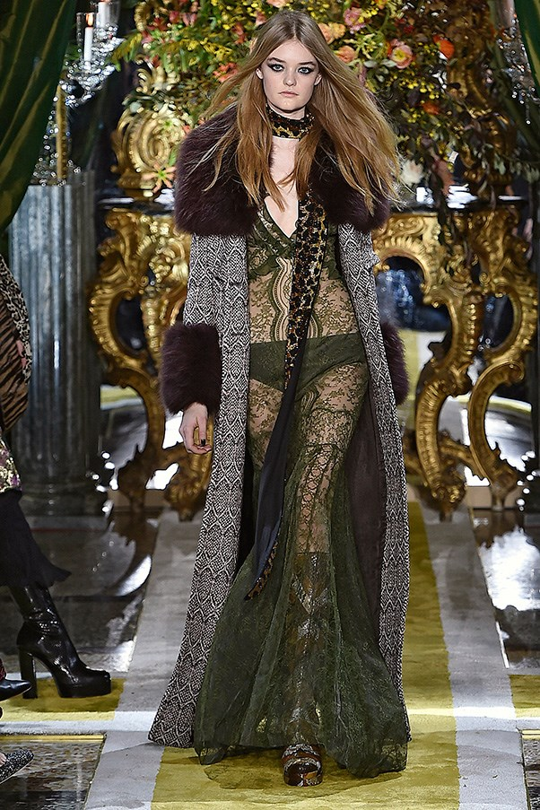 <strong>ROBERTO CAVALLI</strong><br><br> Call it when Gustav Klimt met Led Zeppelin. Stranger pairings have happened in fashion, and in the hands of Peter Dundas and his Roberto Cavalli girls, it sorta makes total sense. The opulence, grandeur and pile-on of velvet and fur was there for both the artist and the band.
