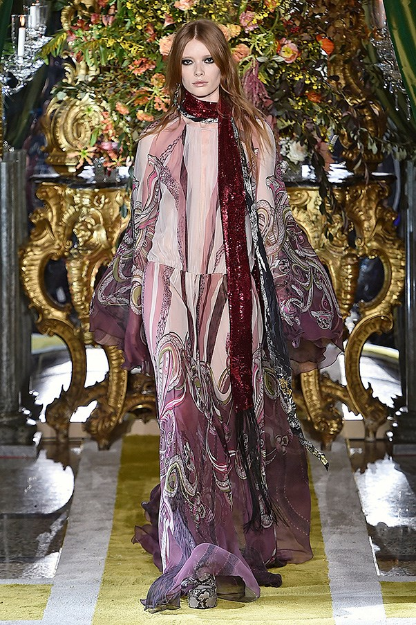 <strong>ROBERTO CAVALLI</strong><br><br> Prints pulled in the whiplash curls and tendrils of Klimt's Art Nouveau contemporaries. And the chi-chi lounging attitude of sheer luxe gowns and beaded columns could have passed for the off-duty wares of Klimt's rich subjects.