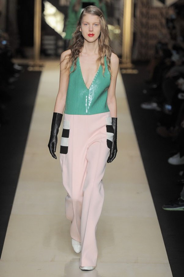 <strong>MAX MARA</strong><BR><BR> And kudos to the design team for stepping outside their comfort zone. They injected so much colour onto this runway via sherbet green, pink and hazard yellow. There were skintight leotards (clearly meant as a layering piece for under your power suits), softly cut trousers with striped pocket details and slightly oversized suit options in the bold hues.