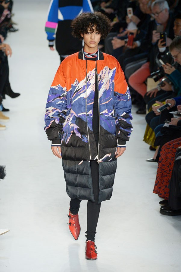 <strong>PUCCI </strong><BR><BR> Autumn's story is clearly a snowy one. The cherry red, pretty pink and sky blues meant to pop against any kind of wintery landscape...or at least cheer one up in the midst of winter doldrums. Snow-capped mountain prints covered long puffer coats, which are an idea he started in pre-fall, bombers, silky dresses and intarsia sweaters.