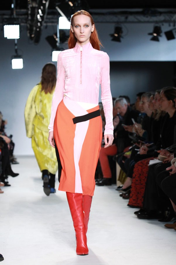 <strong>PUCCI </strong><BR><BR> He finished with a set of velvet zip tops tucked into colourful skirts—the hues he chose, a yellow/blue, pink/red and then a silver version, hinting at a Seventies vibe that's on trend, and a peek at the deeper sort Pucci could have to offer.