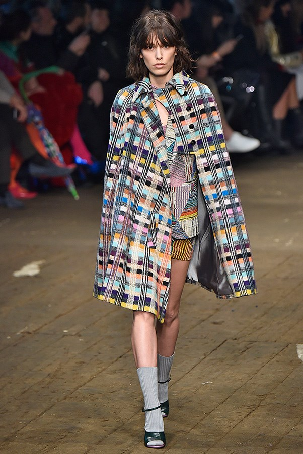 <strong>MISSONI</strong> <BR><BR> For autumn winter, her goal was to show off the versatility of a knit, the many ways space knits, weaves and the like can be worked colorfully into every day looks. Like button-down capes and chunky pieced cardigans, cozy pants and slim minis.