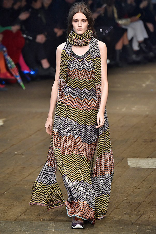 <strong>MISSONI</strong> <BR><BR> Missoni didn't stick to a particular theme or color palette this season, instead letting her imagination and whimsy loose. And the collection was better for it—showing the breadth and depth of sweater dressing.