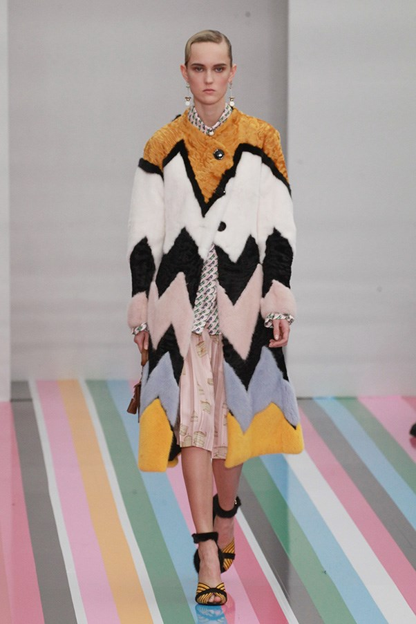 <strong>SALVATORE FERRAGAMO</strong> <BR><BR> The lines gave way to abstract checks and bold chevron skirts and blouses—still maintaining the clean silhouettes. A particularly smart look was a pastel and mustard chevron fur.