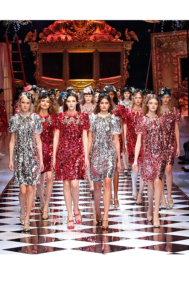 <strong>DOLCE & GABBANA</strong> <BR><BR> Dolce and Gabbana threw themselves down that rabbit hole of fantasy, as they do. Their finale a gaggle of disco damsels in pink and silver dresses—and if everything that came before was literal, it was hard to deny the fun of seeing an army of empowered princesses storm the Mad Hatter's runway. Alert: Sleeping Beauty woke up.