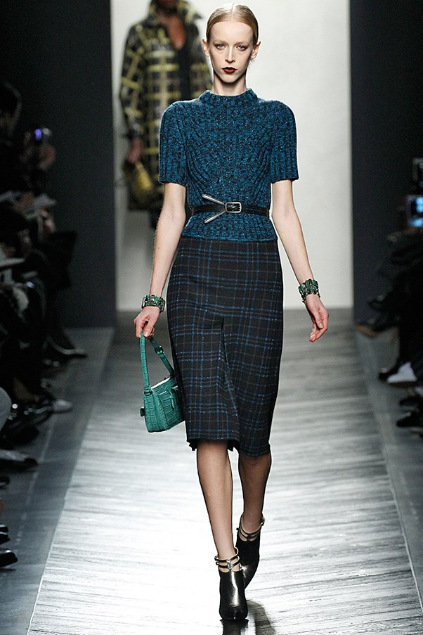 <strong>BOTTEGA VENETA</strong> <BR><BR> Tomas Maier took a step back from the arty-architectural tricks of seasons past and showed a Bottega Veneta collection that was BV at its best: luxurious, understated, adult, desirable. Sometimes in the glamour and drama which inspires us, the art of wearing clothes gets lost. When clothes are so effortless they serve to highlight, not overshadow, the woman wearing them...job well done.