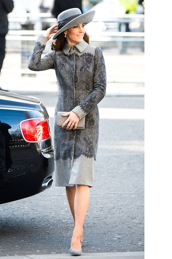 HRH stepped out at the Commonwealth Observance Day Service at Westminster Abbey in a stylish all-grey look. This included a lace-detailed Erdem coat, Emmy London clutch, Rupert Sanderson pumps and a felt hat by John Boyd.