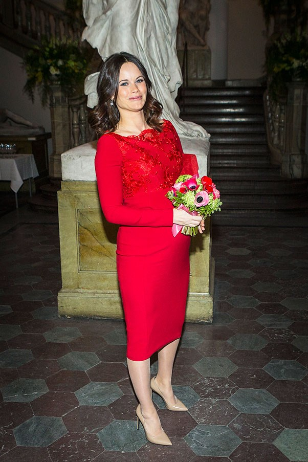Princess Sofia attends the Royal Swedish Academy of Fine Arts' Formal Gathering in February, showing off her royal bump in a body-contouring red dress.