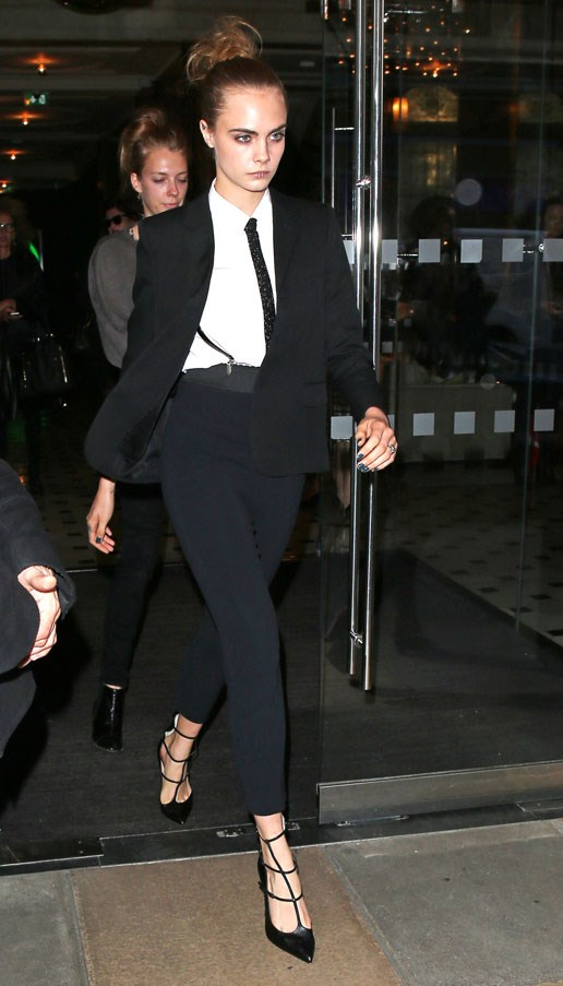 <strong>Cara Delevingne</strong> <br><br> En route to the Women in the World London Summit, 2015.