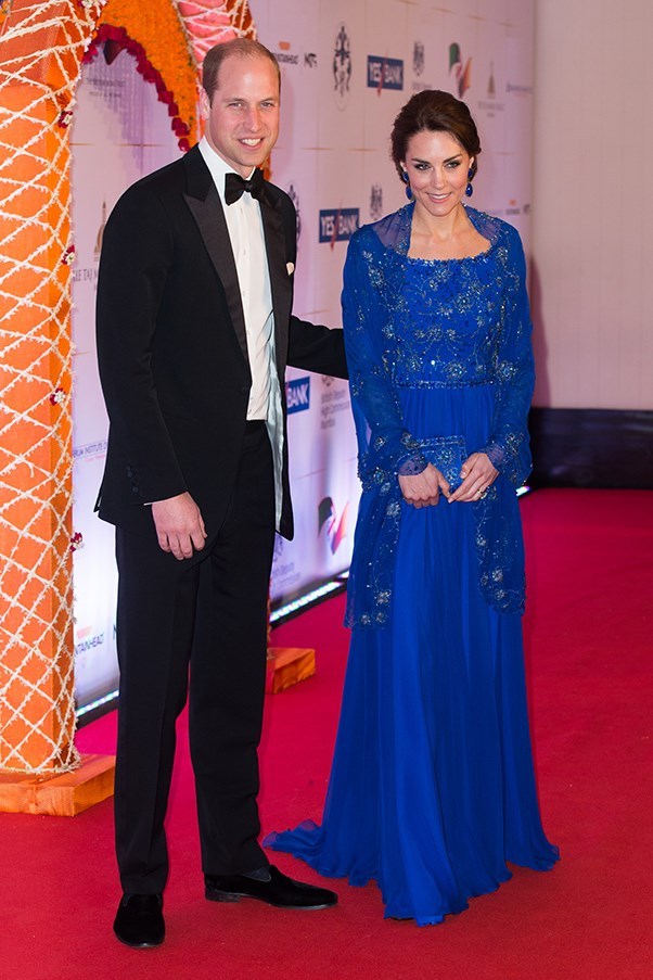 Kate wore a Jenny Packham gown customised with Indian hand-beaded detailing (done by locals) to a charity gala in India.
