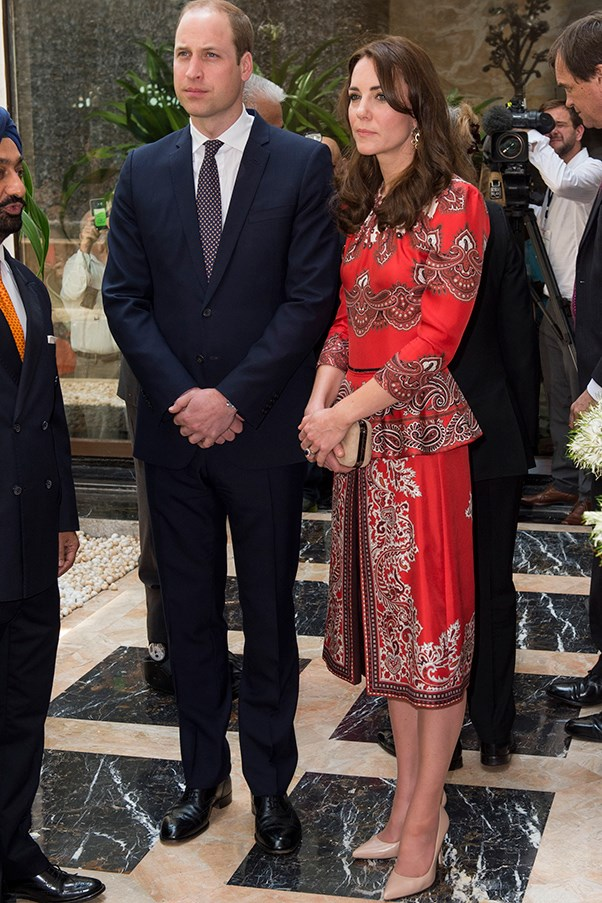 Kate wore an Alexander McQueen, Indian-inspired two-piece at the Taj Mahal Palace hotel, where she and husband Prince William paid tribute to those killed in the 2008 terrorist attacks.