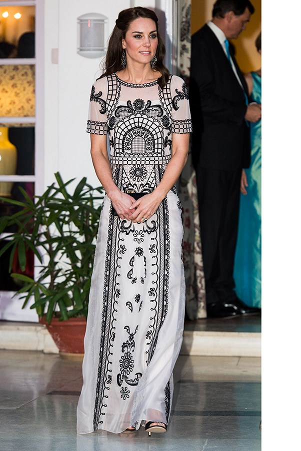 HRH stepped out in an Alice Temperley two-piece (it's a crop and a full-length skirt) to a party celebrating the Queen's 90th birthday in the British high Commissioner's residence in New Delhi.