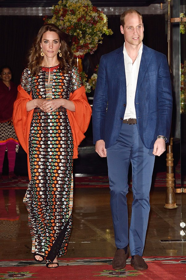 Kate stepped out in an embellished Tory Burch dress for dinner with the King and Queen of Bhutan.
