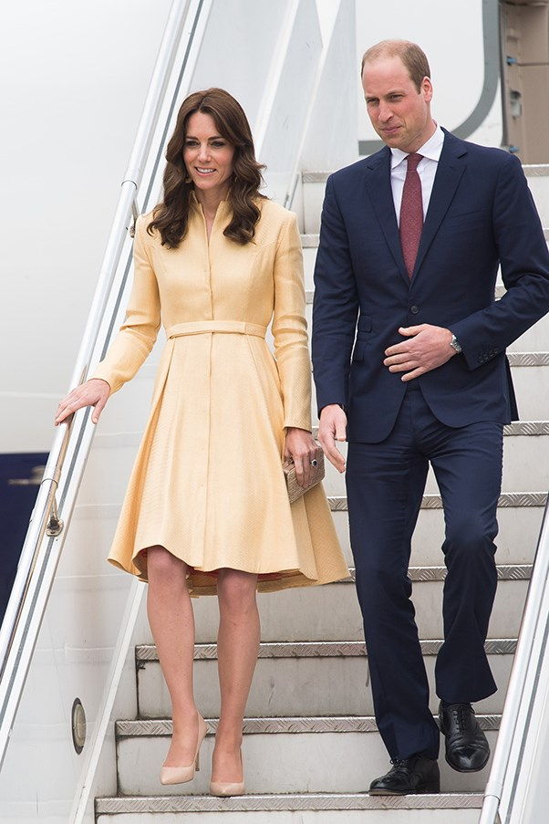 The Duchess donned a citrus coloured Emilia Wickstead dress coat to fly from India to the neighbouring country of Bhutan.