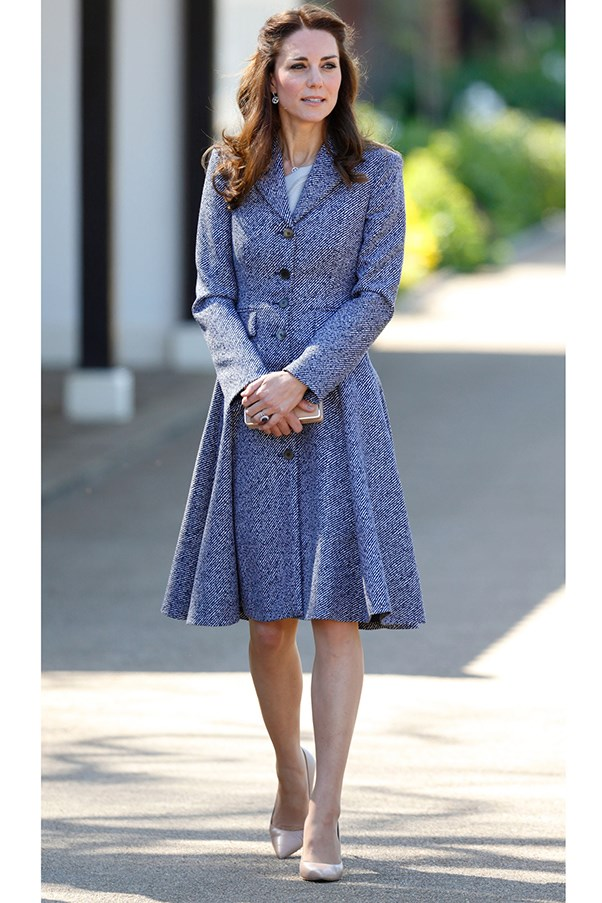 The Duchess wore a Roksanda dress (previous slide) under a grey Michael Kors coat to a playground opening at Hampton Court Palace.