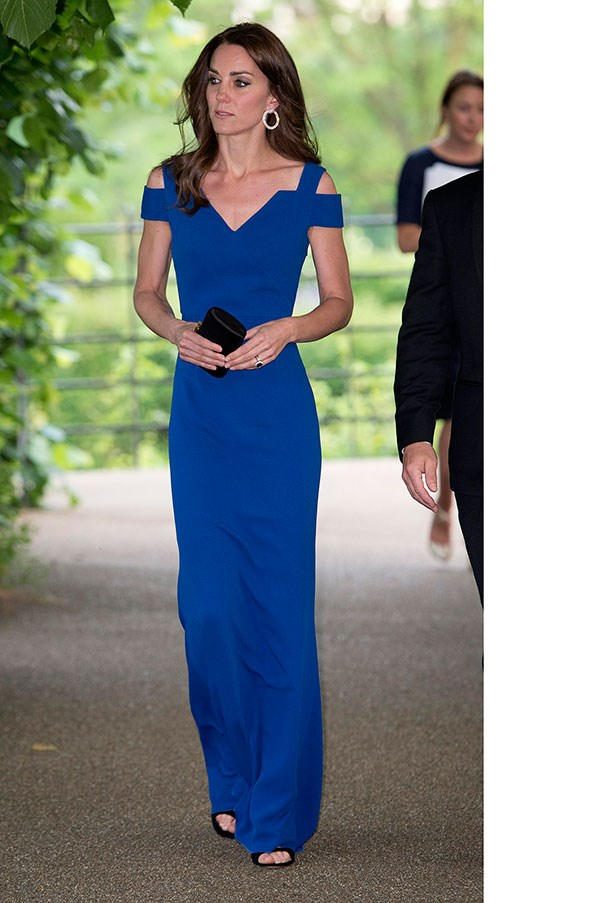 Kate wore a floor-length Roland Mouret dress (with cutouts!) to a banquet honouring charity SportsAid's 40th anniversary on June 9th.