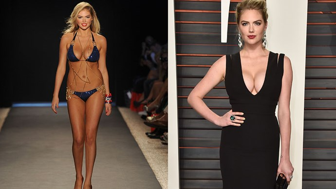 <strong>Kate Upton</strong><br><br> <strong>Food:</strong> In an interview with <em>Cosmopolitan</em>, Kate's trainer Ben Bruno broke down his client's diet. Kate sticks to a strict rule of no sugar and no processed foods (although doughnuts are her weakness, she does splurge sometimes); for lunch and dinner she sticks to vegetables or salad with a lot of protein, usually around 170 grams of chicken or turkey per meal. <br><Br> <strong>Fitness:</strong> Kate trains with Bruno one hour a day, five days a week, focusing on strength training. She'll do strength-based circuit training, which includes a mix of dead lifts, hip thrusts, lunges, rows and slid pulls.