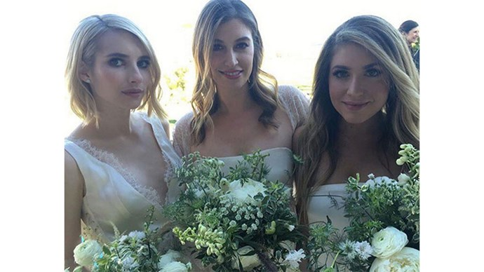 <strong>Emma Roberts</strong><br><br> Emma wore a lacy cream gown while serving as bridesmaid at a friend's wedding in 2015.
