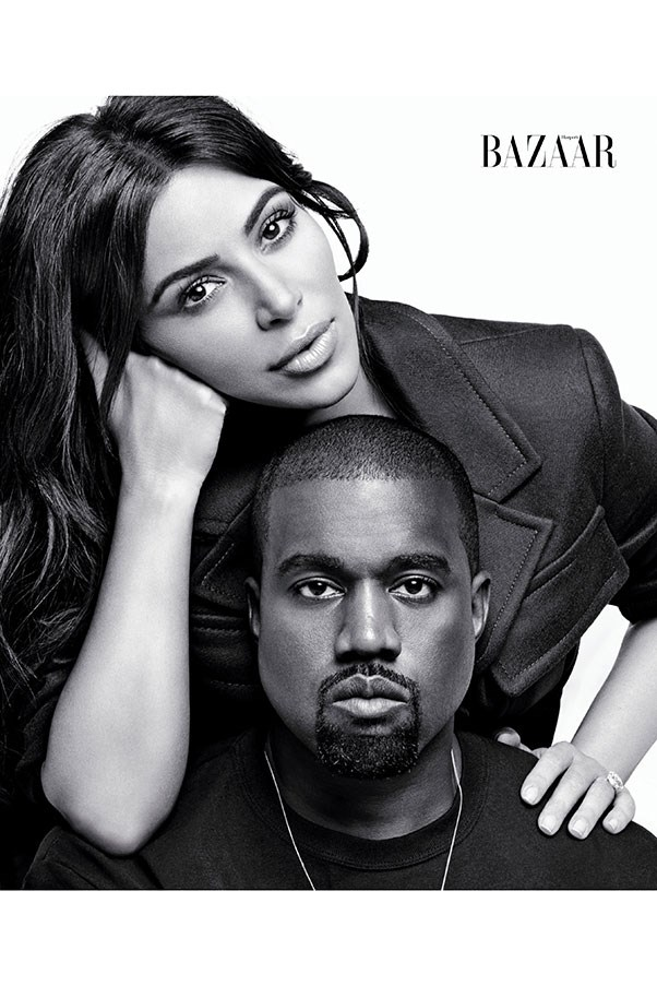 """<strong>Kim and Kanye on each other's favorite body parts:</strong><br><br> <strong>Kanye:</strong> """"My favorite body part of Kim's: heart.""""<br> <strong>Kim:</strong> """"I have to say [Kanye's] heart. And I've always loved his legs."""" <br><br> <strong>Kim:</strong><br> Jacket: Prada<br><br> <strong>Kanye:</strong><br> Clothing: His own"""