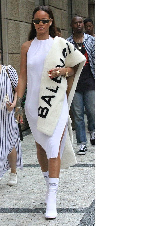 <strong>When:</strong> July 27th, 2016<br><br> <strong>What:</strong> The look that spawned a thousand memes. Rihanna possibly looked her best, ever, when she stepped out in a Faustine Steinmetz dress, Vetements sock boots, Dior x Rihanna sunglasses and a Balenciaga fur stole, accessorised, obviously, with a glass of wine.