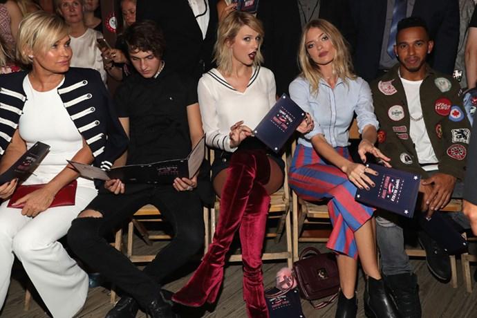 Yolanda Hadid, Anwar Hadid, Taylor Swift, Martha Hunt and Lewis Hamilton at #TOMMYNOW.