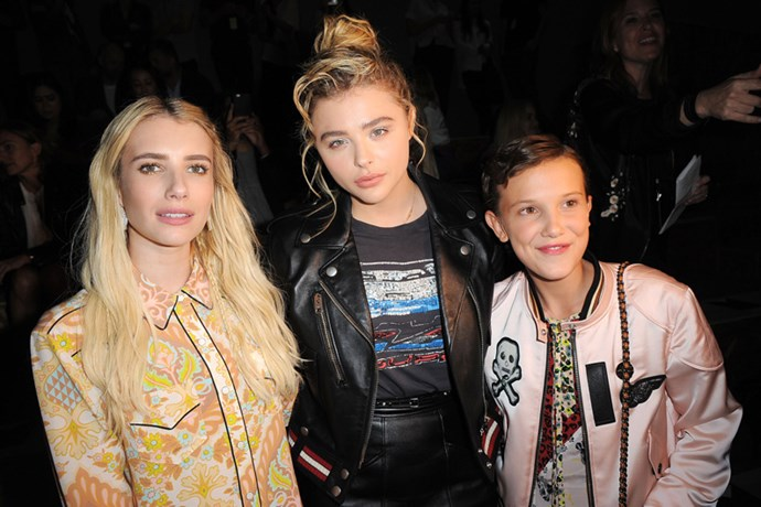 Emma Roberts, Chloe Grace Moretz and Millie Bobby Brown at Coach.